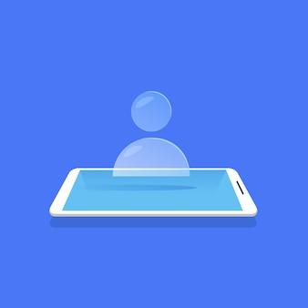 Personne, icône, utilisateur, humain, avatar, symbole, pour, site web, conception, mobile, application, bleu, fond, plat