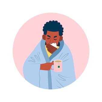 Une personne avec une illustration froide