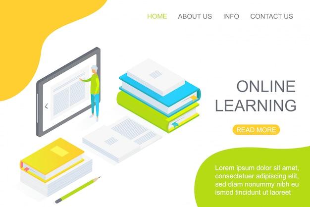 Personne isométrique à l'aide d'une grande tablette au milieu de manuels dédiés à l'illustration vectorielle de la page de destination de l'éducation en ligne.