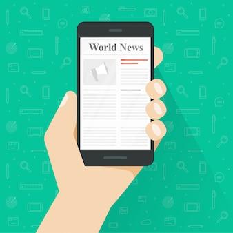 Personne lisant un journal sur un téléphone mobile