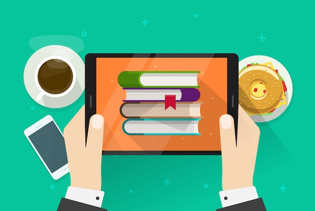 Personne lisant des livres électroniques sur tablette
