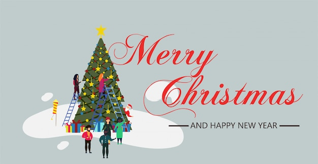 Personne de noël personnes avec arbre et neige illustration nouvel an.