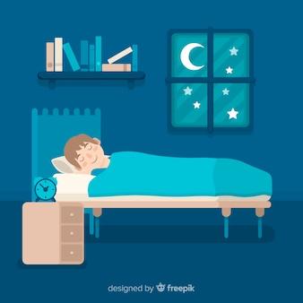 Personne plate dormant dans son lit