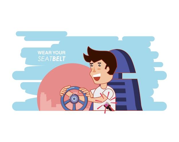 Personne qui conduit avec son étiquette de ceinture de sécurité