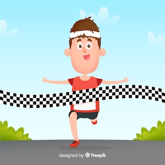 Personne qui gagne un marathon