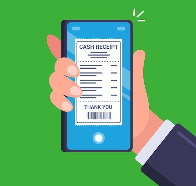 La personne a reçu un chèque électronique sur son smartphone. illustration plate.