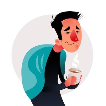 Une personne avec un rhume et du thé