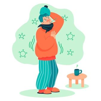 Une personne avec un rhume et un thermomètre