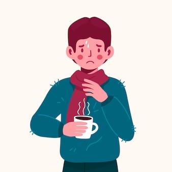 Une personne avec un rhume
