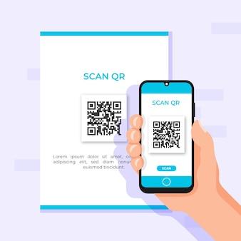 Personne scannant un code qr avec son smartphone