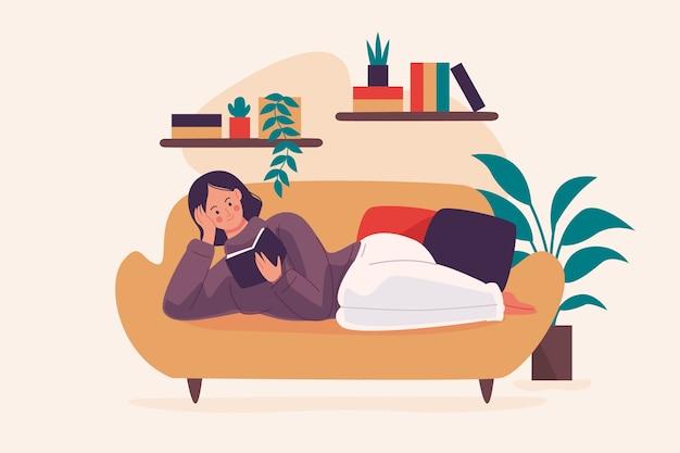 Une personne se détendant à la maison