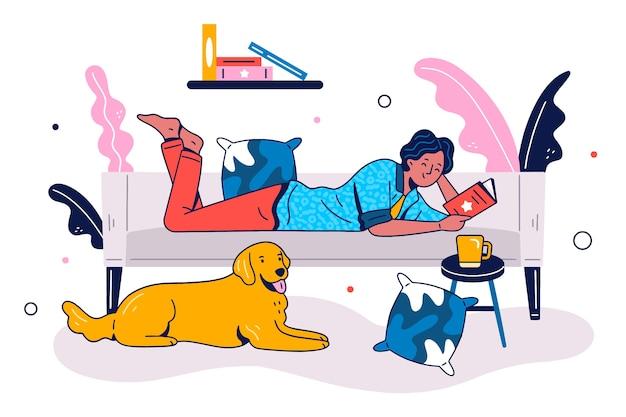Personne se détendre à la maison illustration