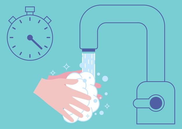 Personne se lavant soigneusement les mains avec de la mousse de savon pendant 20 à 30 secondes sous l'eau courante pour prévenir l'infection par le coronavirus. se laver les mains avec du savon. les indispensables de l'hygiène au quotidien. illustration vectorielle