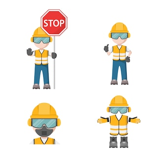 Personne avec son équipement de protection individuelle avec l'icône d'arrêt de sécurité industrielle