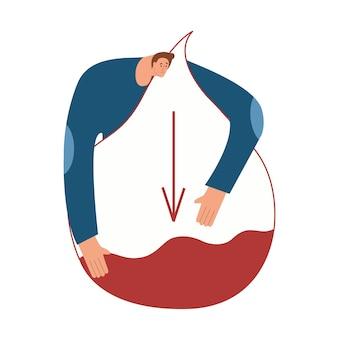 La personne souffre d'hypoglycémie un homme serre dans ses bras une goutte de sang avec une lecture faible en sucre