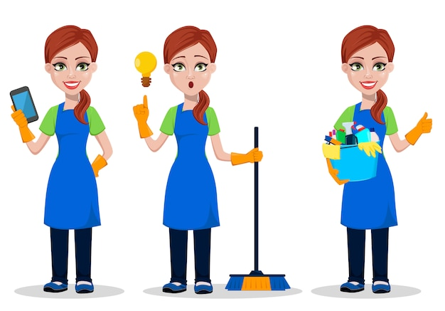 Personnel de l'entreprise de nettoyage en uniforme