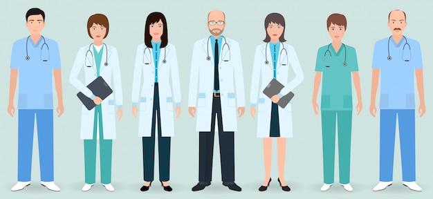 Personnel hospitalier. ensemble de sept médecins et infirmières homme et femme. personnel médical.