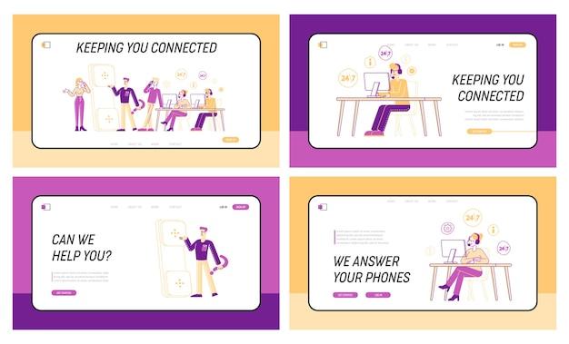 Le personnel de la hotline répond aux questions professionnelles ensemble de modèles de page de destination
