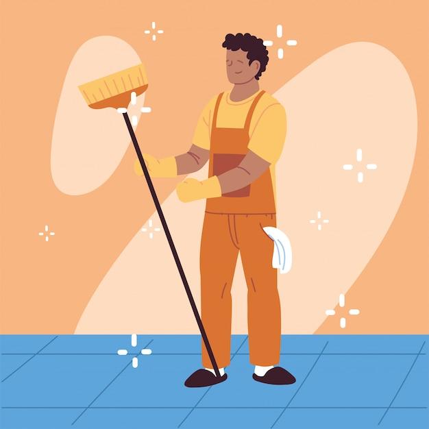 Personnel d'hygiène, homme avec équipement de nettoyage