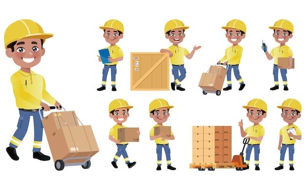 Personnel de livraison avec différentes poses