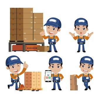 Personnel de livraison avec des poses différentes