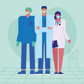 Personnel de médecins professionnels portant des masques médicaux