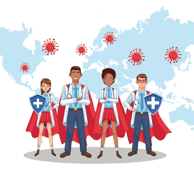 Personnel de médecins super interracial avec une cape de héros vs covid19