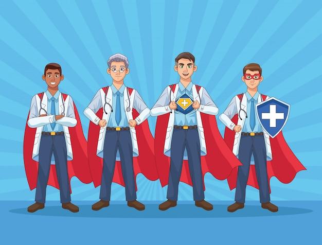 Personnel de médecins super masculin avec des capes de héros