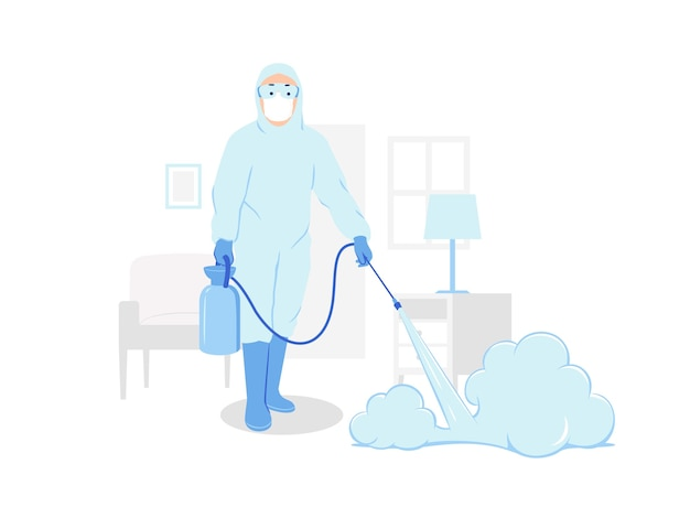 Personnel médical en combinaison de protection contre les matières dangereuses pulvérisant un nettoyage désinfectant à l'intérieur de l'illustration du concept de maison