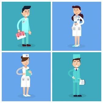 Le personnel médical. infirmière et docteur. équipe médicale hospitalière. soins de santé. professionnel de la médecine. concept médical.
