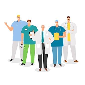 Personnel médical. médecins, à, professeur, illustration