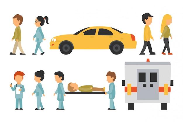 Personnel médical plat, arrière-plan, médecin, infirmière, soins, personnes, graphique modifiable pour votre