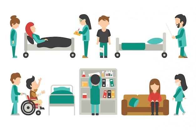 Personnel médical plat, médecin, infirmière, illustration vectorielle de personnes de soins, graphique modifiable pour y