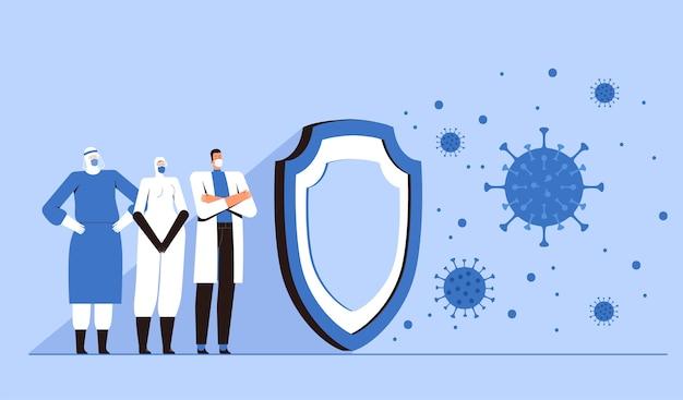 Le personnel médical de protection se tient derrière un grand bouclier et protège le monde du nouveau coronavirus 2019-ncov. concept de contrôle du virus covid-2019. plat