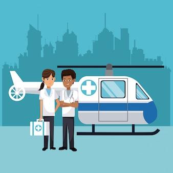 Personnel médical avec urgence d'hélicoptère