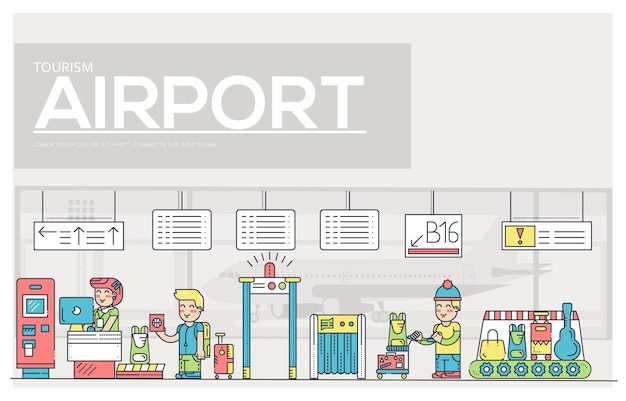 Personnel mince travaillant et enregistrant les personnes et les bagages à l'aéroport.