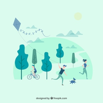 Personnes à plat faisant des activités de plein air de loisirs