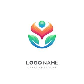 Personnes abstraites et logo de la feuille