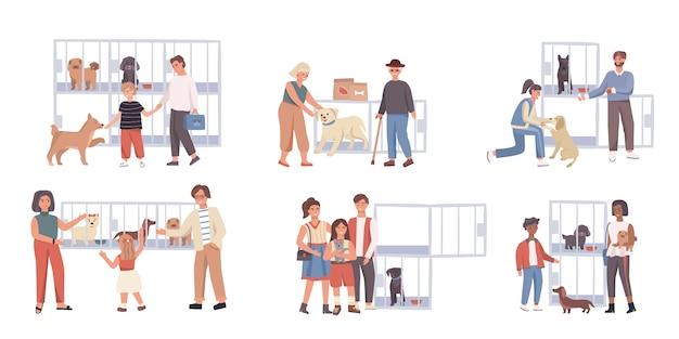 Personnes Adoptant Un Chien Dans Un Refuge Pour Animaux, Illustration Vecteur Premium