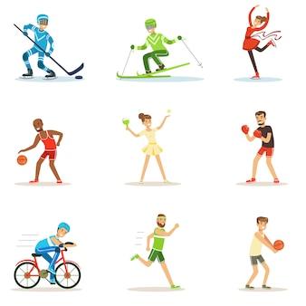 Personnes adultes pratiquant différentes séries de sports olympiques de personnages de dessins animés