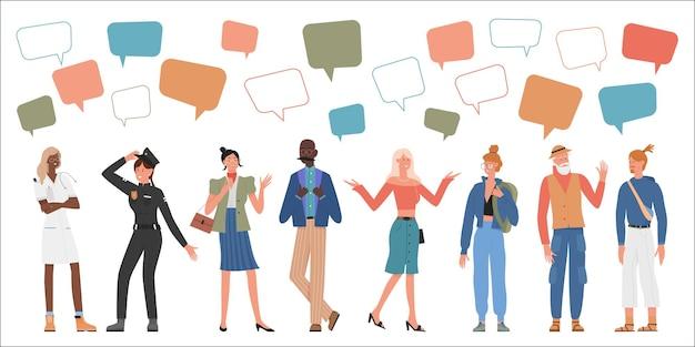 Des personnes d'âge ou de profession différents définissent l'homme femme parler avec des bulles de message au-dessus de la tête