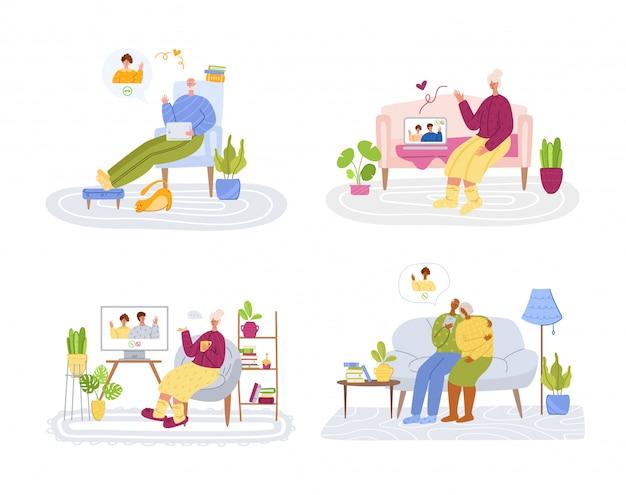 Personnes âgées et communication en ligne - les jeunes parents appellent les grands-parents, le chat en ligne et l'appel vidéo