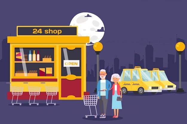 Personnes âgées, couple, achats, rond, horloge, épicerie, nuit