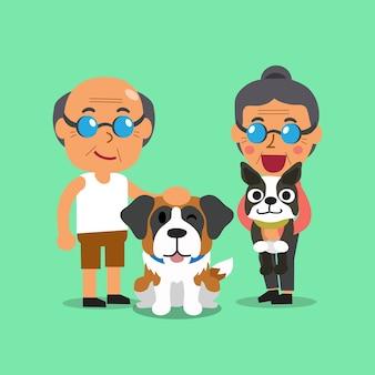 Personnes âgées de dessin animé avec des chiens