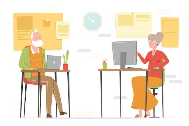 Personnes âgées dessinées à la main à l'aide de la technologie