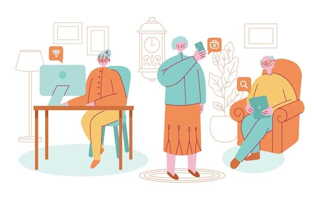 Personnes âgées dessinées à plat à l'aide de l'illustration de la technologie