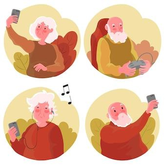 Personnes âgées dessinées à plat à l'aide de la technologie