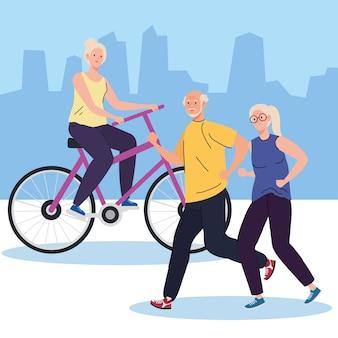 Personnes âgées faisant différentes activités et loisirs illustration en plein air