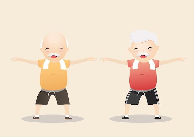 Personnes âgées faisant de l'exercice.