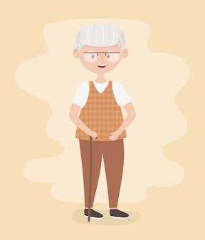 Personnes âgées, grand-père grand-père senior, personne âgée, personnage de dessin animé